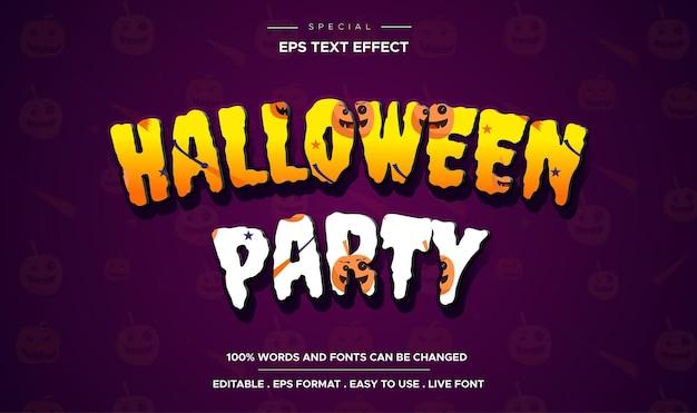 Texto de festa de halloween, estilo de efeito de texto editável de desenho animado
