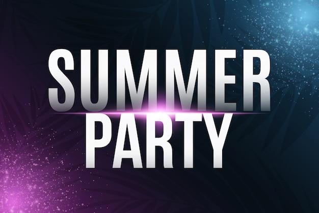 Texto de festa de verão com efeito de luz neon