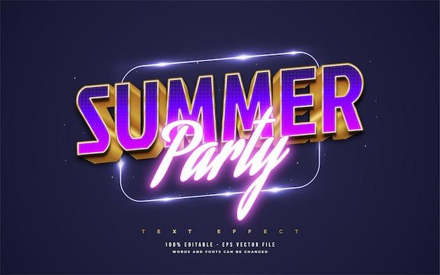 Texto de festa de verão em estilo retro colorido com estilo de néon brilhante. efeito de estilo de texto editável
