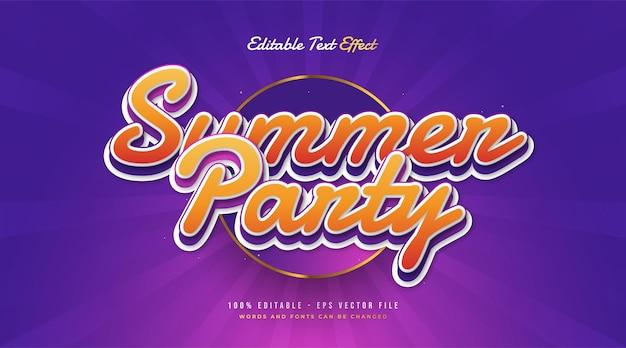 Texto de festa de verão em laranja e roxo com estilo vintage. efeito de texto editável