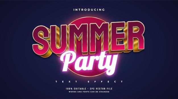 Texto de festa de verão no estilo vermelho e dourado e efeito de néon brilhante. efeito de texto editável