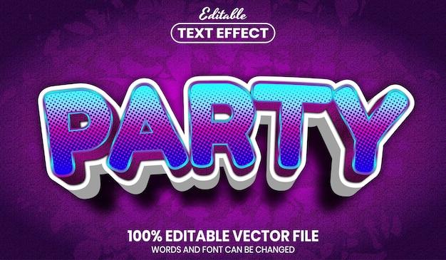 Texto de festa, efeito de texto editável