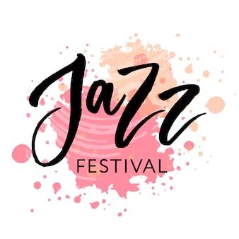 Texto de festival de jazz letras preto de caligrafia