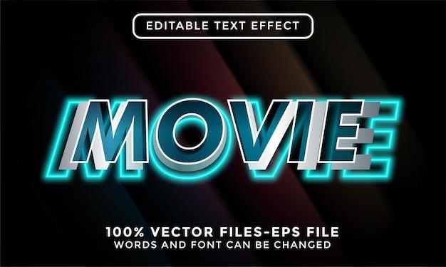 Texto de filme 3d. vetores premium de efeito de texto editável