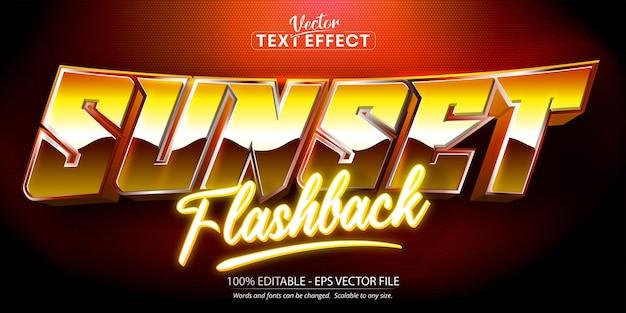 Texto de flashback do pôr do sol, efeito de texto editável de estilo retro