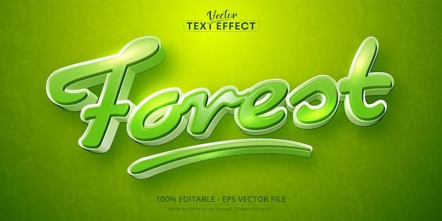 Texto de floresta, efeito de texto editável em estilo desenho animado