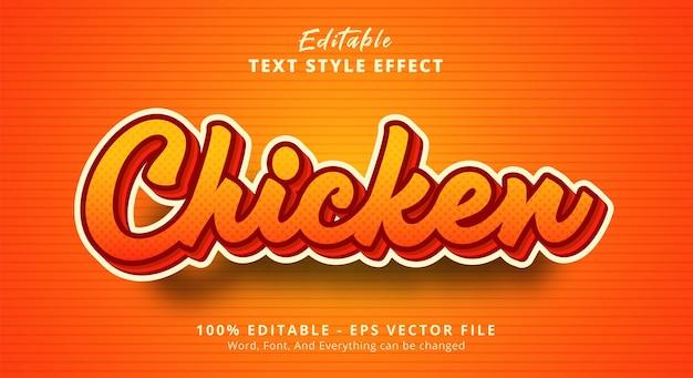 Texto de frango com efeito de texto de cor clara, efeito de texto editável