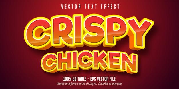 Texto de frango crocante, efeito de texto de estilo cômico
