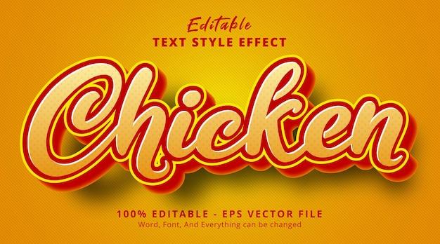Texto de frango em efeito de gradiente laranja, efeito de texto editável