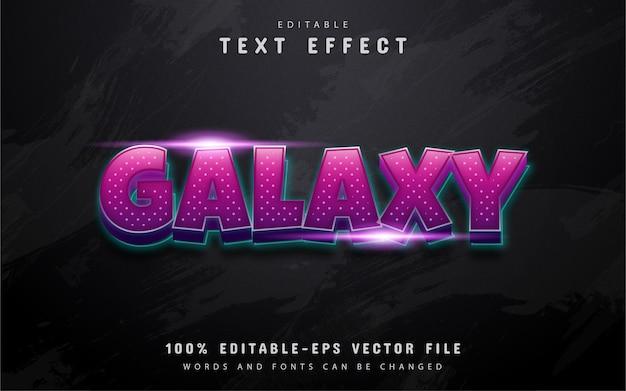 Texto de galáxia, efeito de texto em gradiente roxo