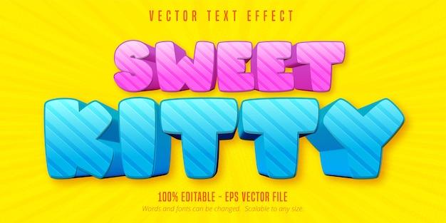 Texto de gatinho doce, efeito de texto editável em estilo cartoon
