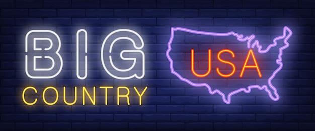 Texto de grande país neon com silhueta de mapa dos eua