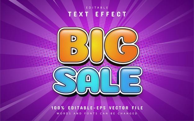 Texto de grande venda, efeito de texto estilo desenho animado