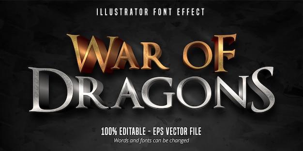 Texto de guerra dos dragões, efeito de fonte editável no estilo de jogo