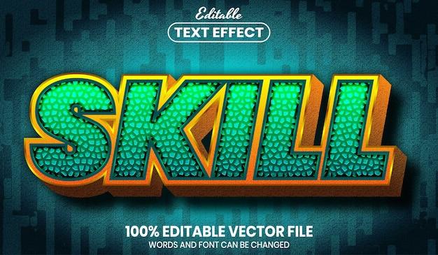 Texto de habilidade, efeito de texto editável