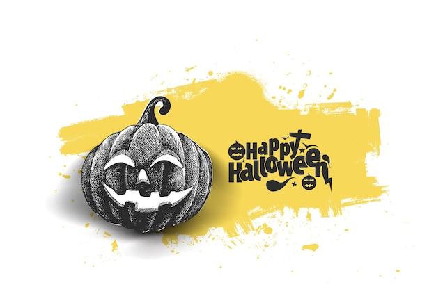 Texto de halloween feliz com abóbora desenhada à mão sketch vector design.