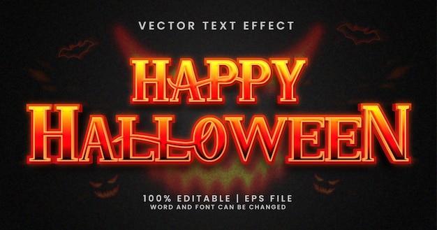 Texto de halloween feliz, modelo de efeito de texto editável de terror