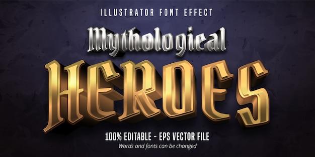 Texto de heróis mitológicos, efeito de fonte editável em ouro e prata estilo metálico 3d