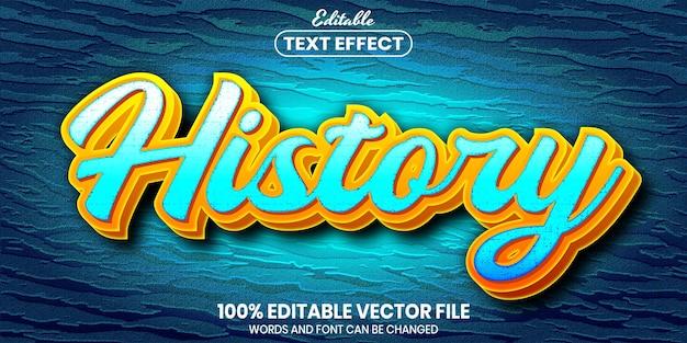 Texto de histórico, efeito de texto editável de estilo de fonte