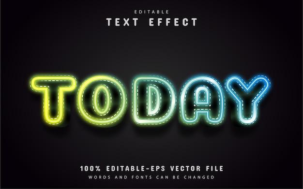 Texto de hoje, efeito de texto em estilo neon