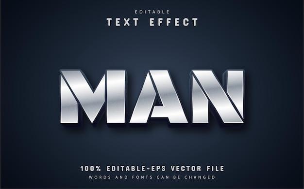 Texto de homem, efeito de texto estilo prateado
