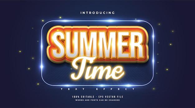 Texto de horário de verão com estilo de desenho animado e efeito laranja néon. efeito de texto editável