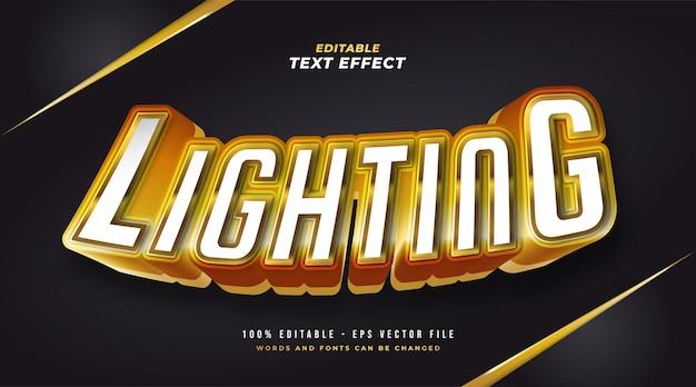 Texto de iluminação em branco e dourado com efeito 3d em relevo. efeito de estilo de texto editável