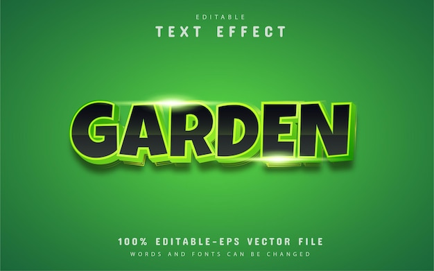 Texto de jardim, efeito de texto em gradiente verde