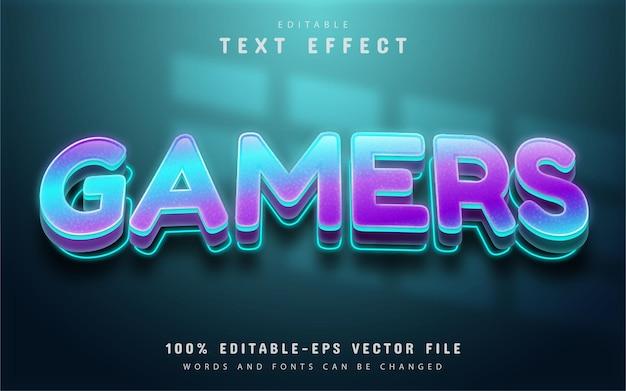Texto de jogadores, efeito de texto gradiente brilhante editável