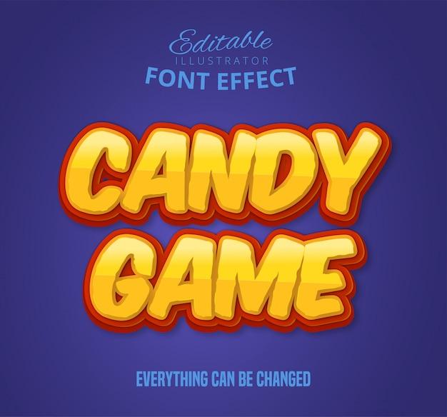 Texto de jogo de doces, efeito de fonte