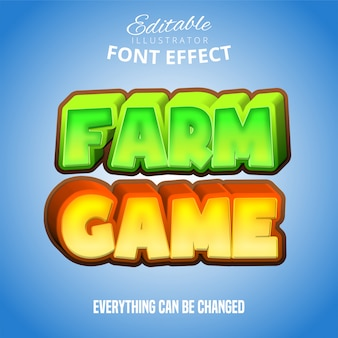 Texto de jogo de fazenda, efeito de fonte editável