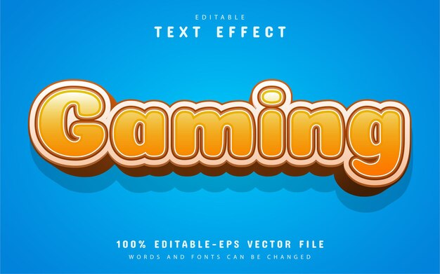 Texto de jogo, efeito de texto desenho animado laranja