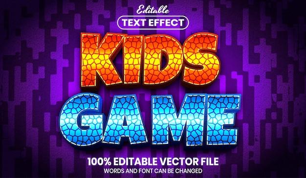 Texto de jogo infantil, efeito de texto editável de estilo de fonte