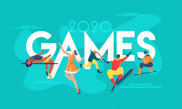 Texto de jogos 2020 com desportista sem rosto ou atletismo em atividade diferente no fundo turquesa.