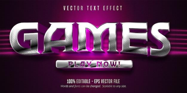 Texto de jogos, efeito de texto editável em estilo de jogo prateado