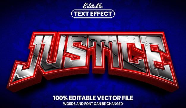 Texto de justiça, efeito de texto editável de estilo de fonte