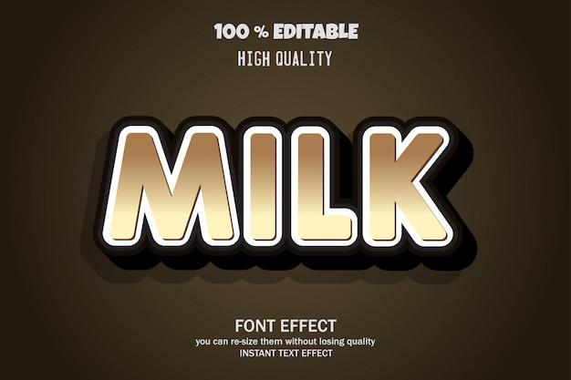 Texto de leite, efeito fonte editável
