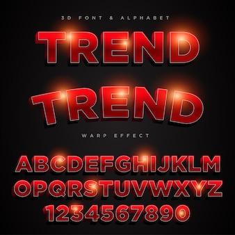 Texto de letras 3d estilizado vermelho