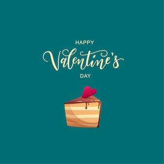 Texto de letras à mão do dia dos namorados com bolo decorado com coração