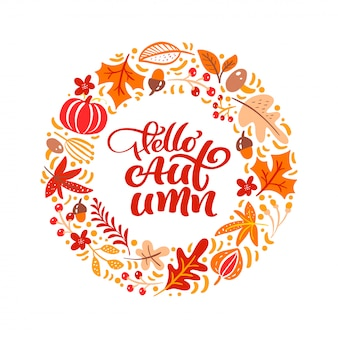 Texto de letras de caligrafia olá outono