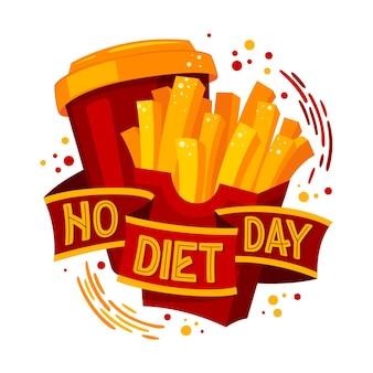 Texto de letras de design de fast food e coca - sem dia de dieta. ilustração em vetor internacional sem dieta dia.