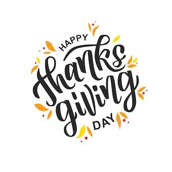 Texto de letras de mão feliz ação de graças. cartão para a celebração do dia de ação de graças.