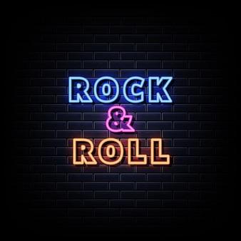 Texto de letreiro em néon rock and roll