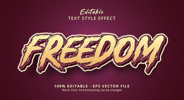 Texto de liberdade em efeito de quadrinhos urbanos, efeito de texto editável