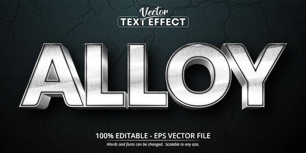 Texto de liga, efeito de texto editável estilo prata brilhante