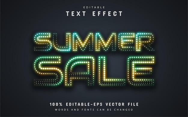Texto de liquidação de verão, efeito de texto estilo neon