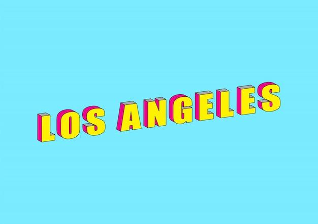 Texto de los angeles com efeito isométrico 3d
