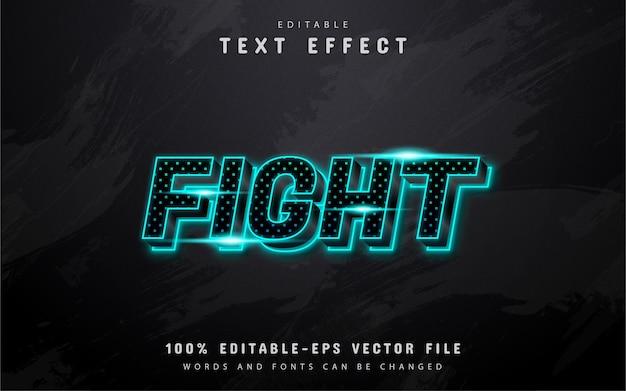 Texto de luta, efeito de texto em néon com padrão de pontos