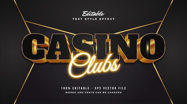 Texto de luxo casino preto e dourado com efeito em relevo e néon. efeito de estilo de texto editável