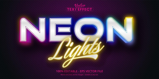 Texto de luzes de néon, efeito de texto editável de estilo néon